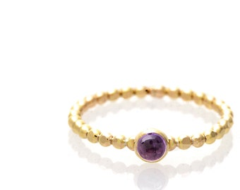 Amethyst Solitaire Stacking Ring