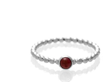 Garnet Stacking Solitaire ring