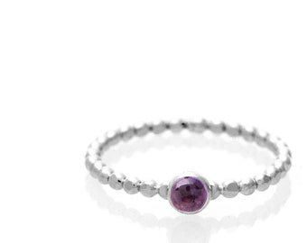 Amethyst Stacking Solitaire ring