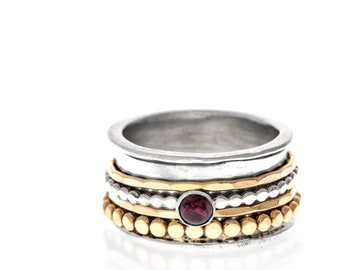 Garnet Spinner Ring, Aluminum Base