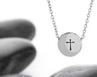 Cross Necklace, Silver Cross, Sterling Silver, Confirmation Gift, Cross Charm, Cross Pendant, Necklace, Baptism Gift, Religious Necklace