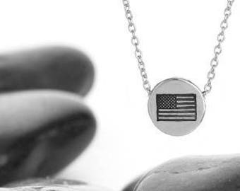 American Flag Charm Necklace