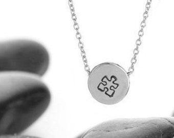 Sliding Puzzle Piece Charm Necklace