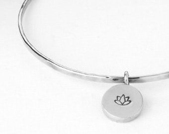 basic hammered stacking bangle with a Lotus Flower Charm
