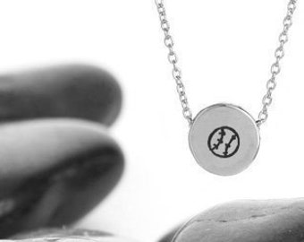 Sliding Softball Charm Necklace in Sterling Silver