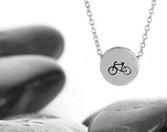 Silver Bicycle Charm Necklace