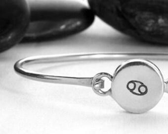 Sterling Silver Cancer Zodiac Hinge Cuff