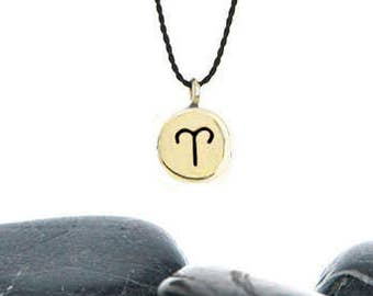 Tiny Zodiac Wish Charm Necklace in Brass