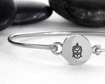 Buddha's Face hinge Cuff in Sterling
