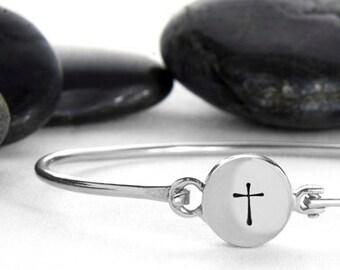 Sterling Silver Cross Hinge Cuff