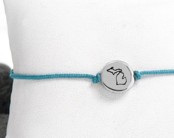 Tiny State Friendship Bracelet in Recycled Sterling Silver
