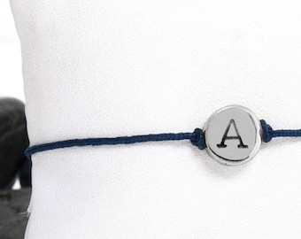 Tiny Initial Friendship Bracelet in Recycled Sterling Silver