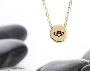 Tiny Claddagh Sliding Charm Necklace