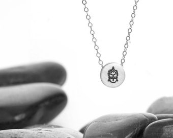 Small Sliding Buddha's Face Charm Necklace in Sterling Silver