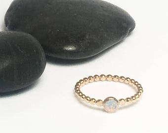 Opal Ring, October Birthstone, Opal Jewelry, Opal, White Opal Ring, Gold Opal Ring, Gemstone Ring, Stacking Ring, Opal Rings