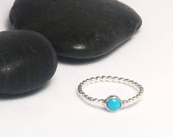 Sleeping Beauty Turquoise Solitaire Stacking Ring