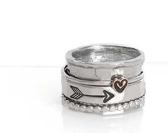 Heart and Arrow Spinner Ring