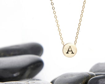 Tiny Initial Sliding Charm Necklace in Brass and Gold Fill