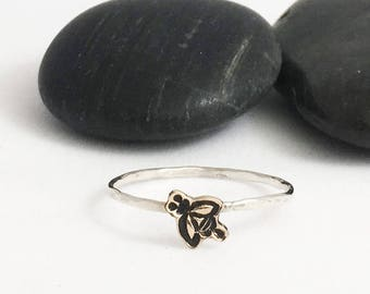 Tiny Bee Charm Stacking Ring