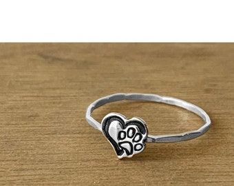 Heart with Pawprint Charm Cut out stacking ring
