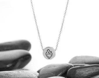 Sliding Mother and Child Charm Necklace