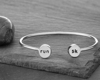 Run Double Charm Cuff in Recycled Sterling Silver