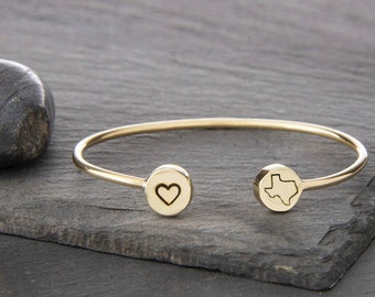 Texas Bracelet, Texas Jewelry, Texas, State of Texas, Texas Bangle, State Jewelry, Texas State Bracelet, Lone Star State, Texas Charm, 249B