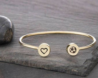 I love Soccer Adjustable Cuff bracelet