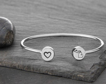 State Pride Double Charm Cuff in Recycled Sterling Silver