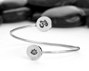 Double Charm Cuff in Recycled Sterling Silver