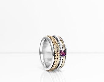 Swarovski Amethyst Birthstone Spinner Ring With Sterling Silver Base