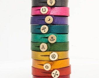 Leather Button Bracelet