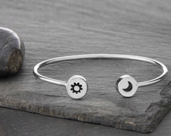 Sun and Moon Cuff bracelet in Sterling Silver