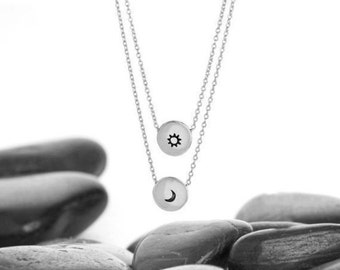 Moon, Sun, Moon Necklace, Sun Necklace, Sun and Moon Jewelry, Moon Jewelry, Sun Jewelry, Sun and Moon Pendant, Sun and Moon Charm