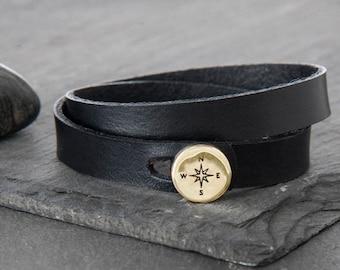 Leather Compass Wrap Bracelet