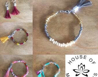 7/25/18 ~ Tassel Bracelet & Earrings Class ~ Wednesday July 25, 6PM ~ BYOB