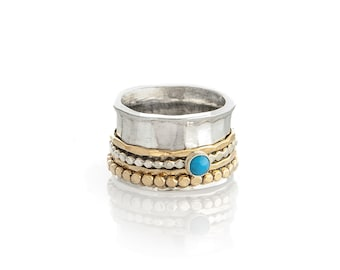 Sterling Silver Turquoise Spinner Ring