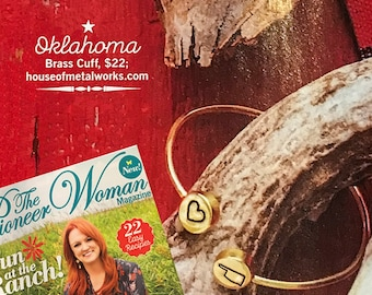 As seen in Pioneer Woman Magazine ~ Personalized I Love My State Cuff Bracelet