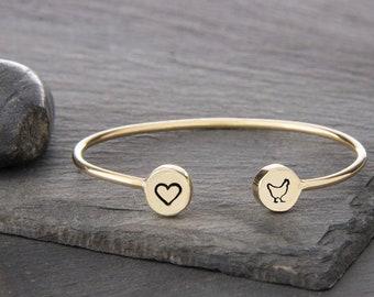 Pet Lover Gift, Poultry Lover Gift, Chicken Charm, Chicken Gifts, Chicken Jewelry, Bird, Cuff Bracelet, Chicken Lover Gift