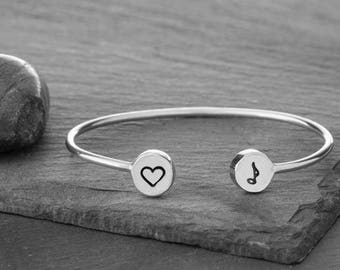 Sterling Silver I Love Music Charm Cuff