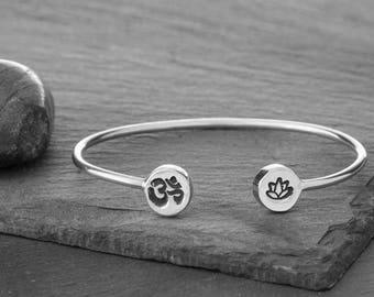 OM Bracelet, Lotus Bracelet, Yoga Bracelet, OM, Yoga Jewelry, Lotus, Yoga, Lotus Flower, Lotus Charm, Lotus Jewelry, Om Charm, Om Symbol