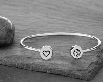 I Love Basketball Adjustable Cuff in Recycled Sterling Silver