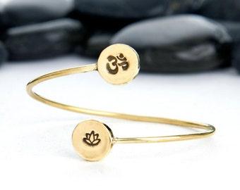 Om Bracelet, Lotus Bracelet, OM, Lotus Flower, Om Jewelry, Lotus Jewelry, Yoga Jewelry, Yoga Bracelet, Lotus, Yoga, Meditation