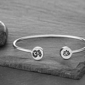 Yoga Bracelet House of Metalworks lotus charm Leather Cuff lotus lotus flower Lotus Bracelet Leather Bracelet