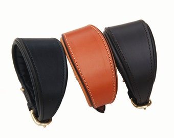 Pear Tannery Greyhound Leather Padded Dog Collar