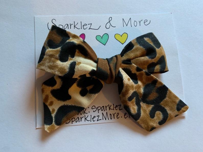 Leopard Print Bow Headband or Hair Clip Ready To Ship Bows Brown Bows