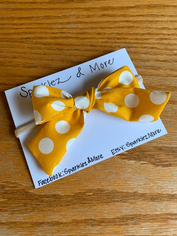 Mustard Yellow with White Polka Dots Bow Headband