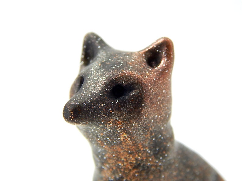 Coppery Pregnant Wolf Hand Sculpted Wolf Female Sitting Up Etsy