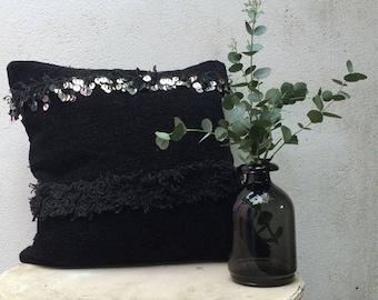 Housse de coussin Handira Noir