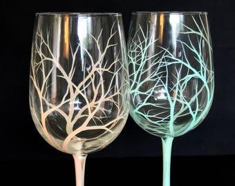 Tree Wine Glass Hand Painted Bare Branches Colorful Funky Stemware Organic Stylish Modern Kitchen Bar Decor Unique Housewarming Wedding Gift